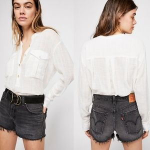 Free People NWT Talk To Me Button Down in Ivory